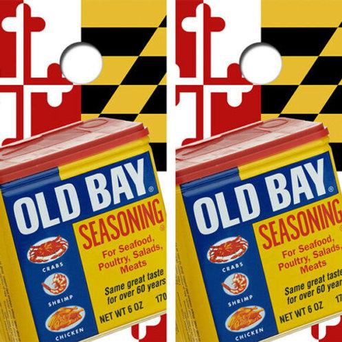 Maryland Themed Old Bay Cornhole Wood Board Skin Wrap