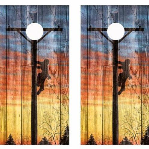 Electrical Lineman Barnwood Cornhole Wood Board Skin Wraps