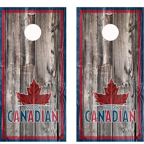 Molson Canadian Barnwood Cornhole Wood Board Skin Wr