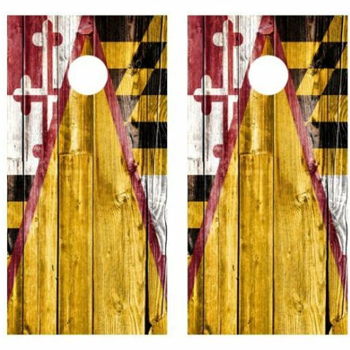 Maryland Themed Barnwood Cornhole Wood Board Skin Wrap