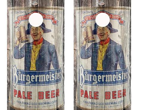 Vintage Burgermeister Pale Beer -  Beer Can Barnwood Cornhole Wood B