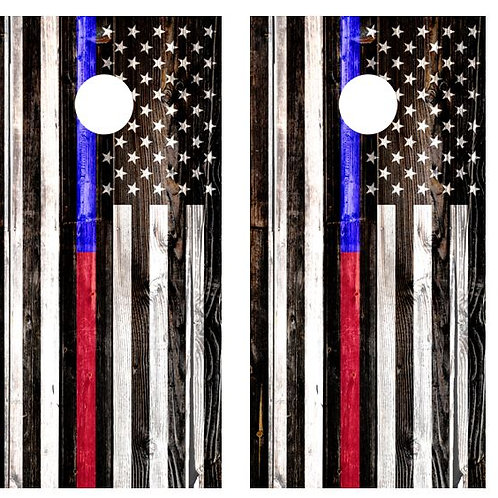 American Flag Red/Blue Line Cornhole Board Wraps FREE LAMINATE