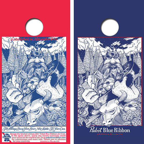 Pabst Blue Ribbon Cornhole Wood Board Skin Wraps FREE LAMINATE