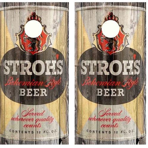 Vintage Stroh's Bohemian Style Beer - Beer Can Barnwood Cornhole Woo