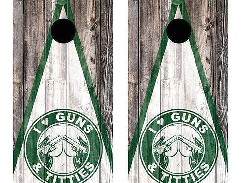 I Love Guns And Titties Barnwood Cornhole Wood Board Skin Wr
