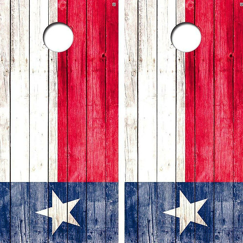 Texas Flag Barnwood Cornhole Wood Board Skin Wrap