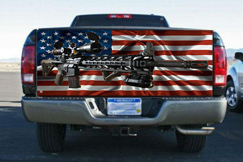 American Flag Sniper Rifle Truck Tailgate Wrap Vinyl Graphic Decal Sticker