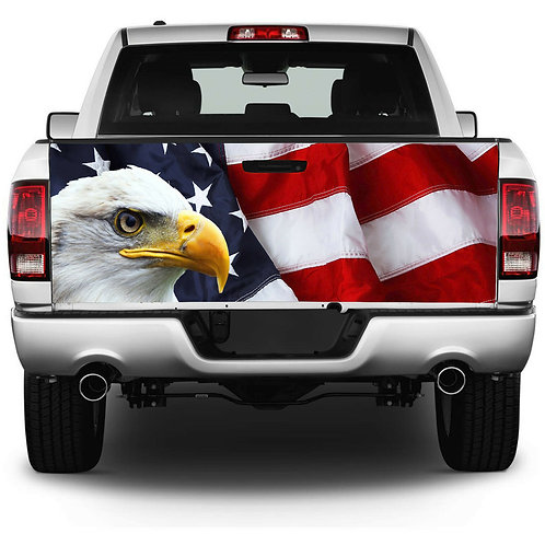 American Flag Eagle Tailgate Wrap Vinyl Graphic Decal Sticker