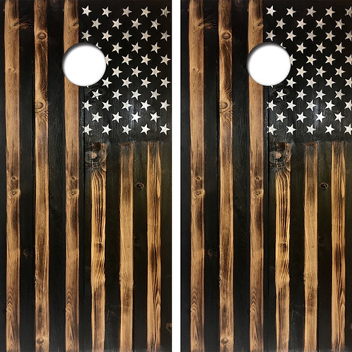 Wood American Flag Cornhole Wood Board Skin Wraps FREE LAMINATE