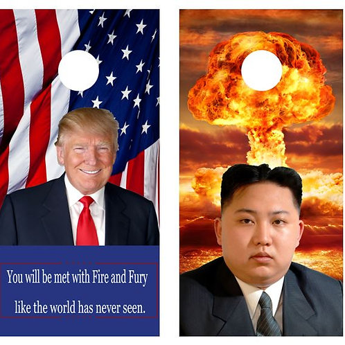 Donald Trump/Kim Jong-un Nuke Cornhole Board Wraps FREE LAMINATE