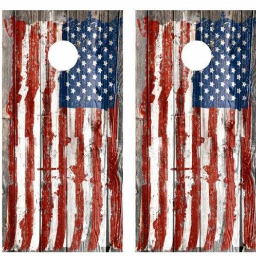 Tattered Painted Flag Barnwood Cornhole Wood Board Skin Wrap