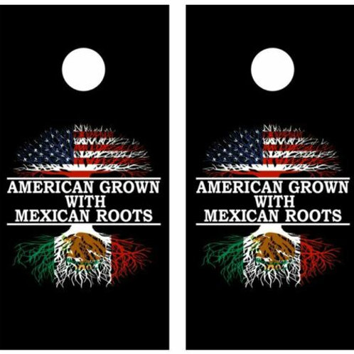 American Grown With Mexican Roots Cornhole Wood Board Skin Wraps