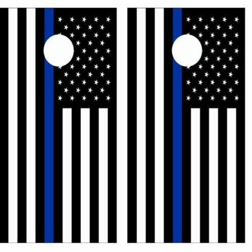 Blue Lives Matter Flag Cornhole Wood Board Skin Wraps FREE LAMI