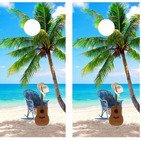 Tropical Palm Tree Guitar Beach Cornhole Wood Board Skin Wr