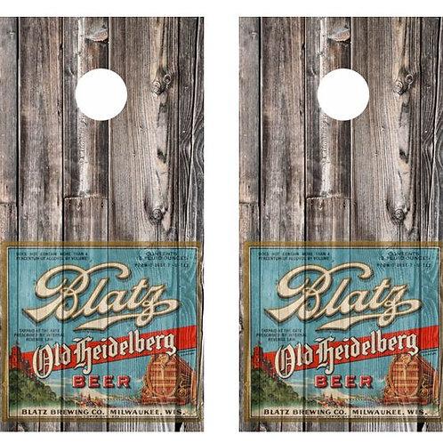 Vintage Blatz Old Heidelberg Beer -  Beer Label Barnwood Cornhole Wood B