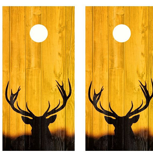 Big Rack Buck Silhouette Barnwood Cornhole Wood Board Skin Wr
