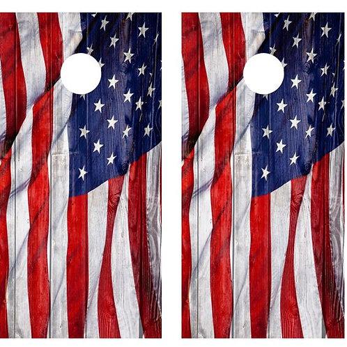 Waving American Flag Cornhole Wood Board Skin Wraps FREE LAMINATE