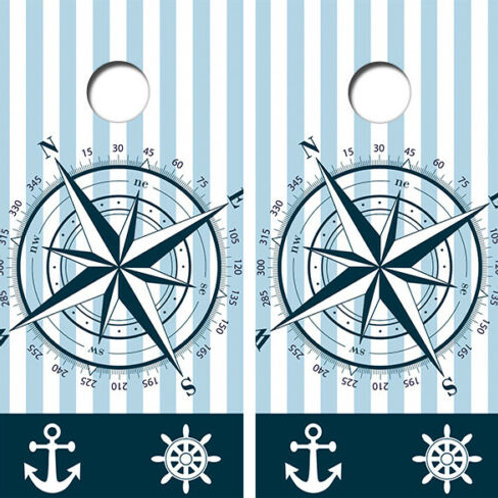 Nautical Themed Cornhole Wood Board Skin Wrap