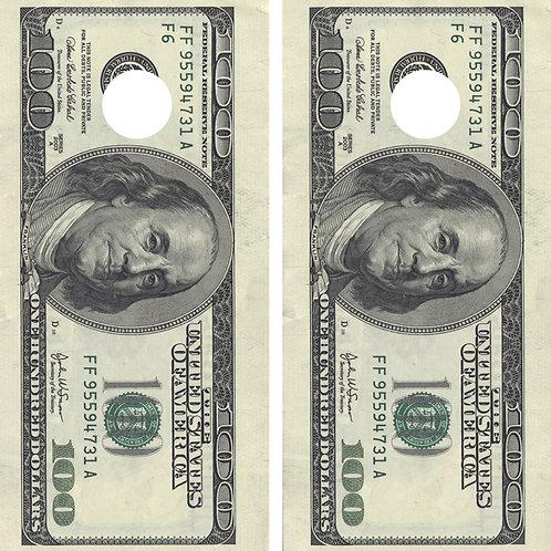 100$ bill Cornhole Wrap FREE LAMINATE