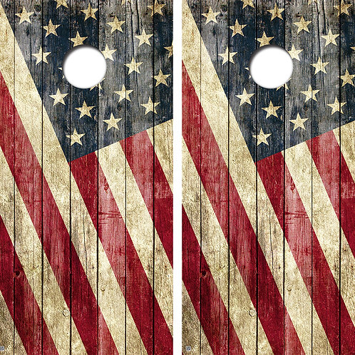 Grunge American Flag Cornhole Board Skin Wraps FREE LAMINATE