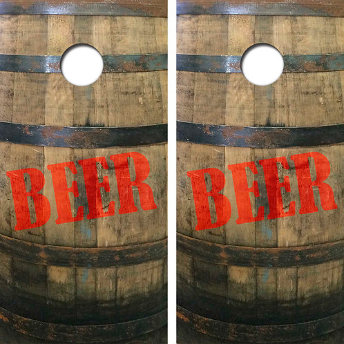 Beer Barrel Cornhole Wood Board Skin Wraps FREE LAMINATE