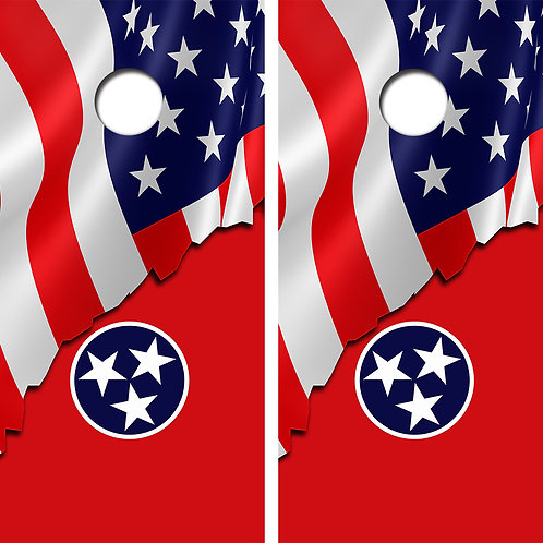American Flag/Tenessee Flag Cornhole Wood Board Skin Wraps FREE LAMINATE