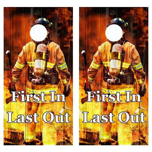 Firefighter First In, Last Out Cornhole Wood Board Skin Wrap
