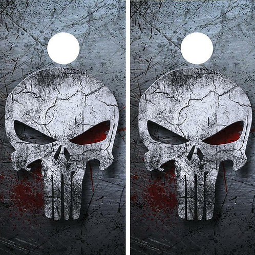 Punisher Skull Cornhole Wood Board Skin Wrap