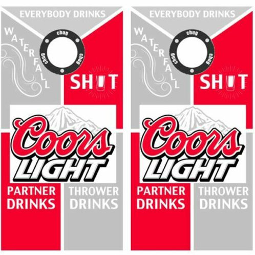 Coors Light Drinking Cornhole Wood Board Skin Wraps