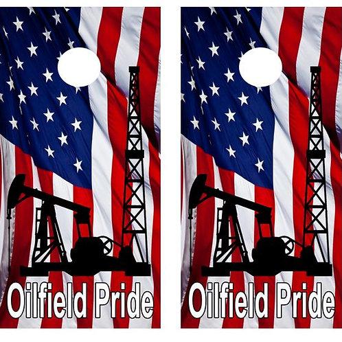 Oilfield Pride Cornhole Wood Board Skin Wrap