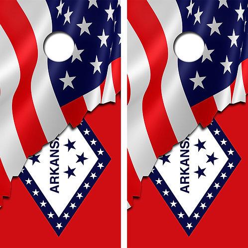 American Flag/Arkansas Flag Cornhole Wood Board Skin Wraps FREE LAMINATE