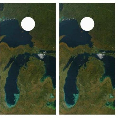 State Of Michigan Satelite View Cornhole Wood Board Skin Wrap