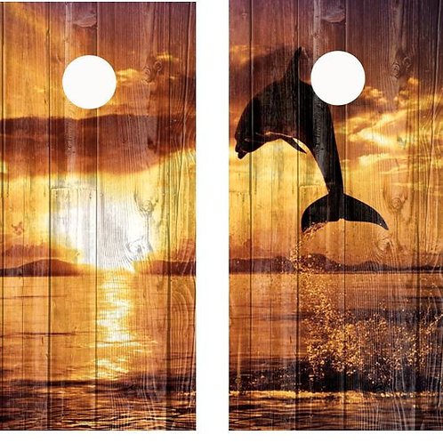 Sunset Leaping Dolphin Barnwood Cornhole Wood Board Skin Wr