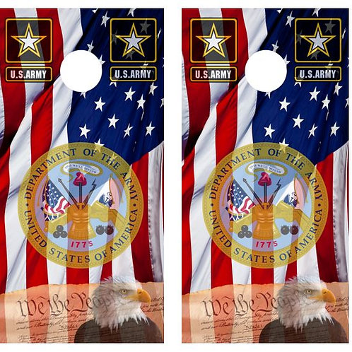 We The People/ U.S. Army American Flag Cornhole Board Wrap FREE LAMINATE