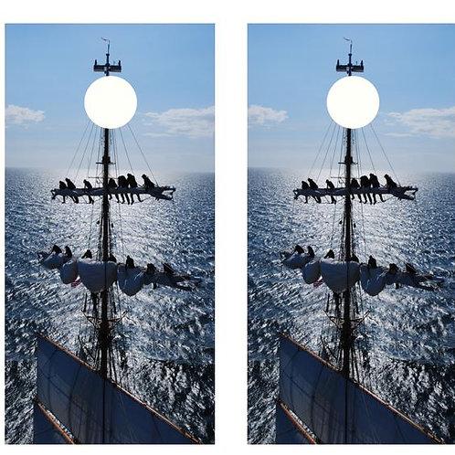 Tall Ship Unfurling The Sails Cornhole Wood Board Skin Wr