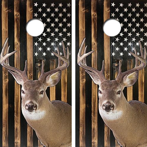 Buck Wood American Flag Cornhole Wood Board Skin Wraps FREE LAMINATE