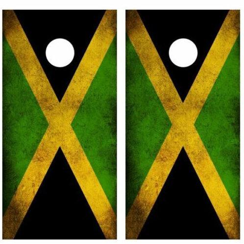 Grunge Jamacian Flag Cornhole Wood Board Skin Wrap