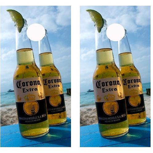 Tropical Beach Corona Bottles Cornhole Wood Board Skin Wrap