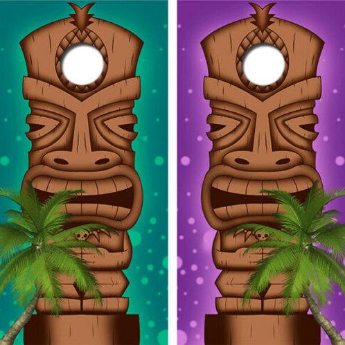 Hawaian Tiki Statue Cornhole Wood Board Skin Wrap