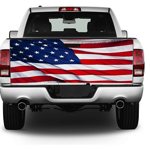 Patriotic American Flag Truck Tailgate Wrap Vinyl Graphic Decal Sti