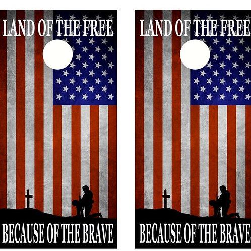 Land Of The Free Flag Cornhole Wood Board Skin Wrap