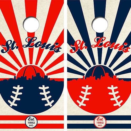 St. Louis Baseball Cornhole Wood Board Skin Wraps FREE LAMINATE