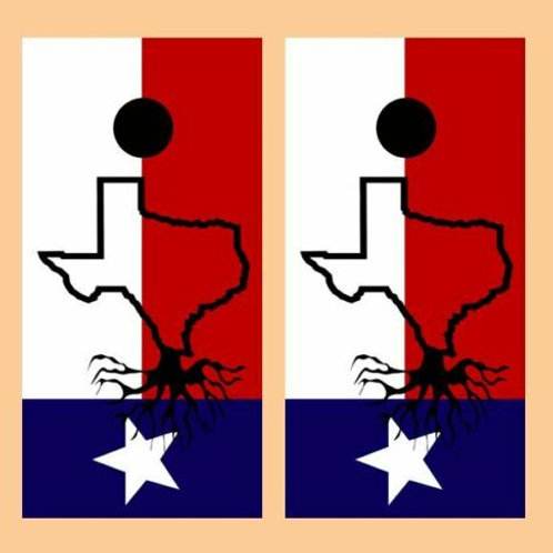 Texas Roots Flag Cornhole Wood Board Skin Wrap