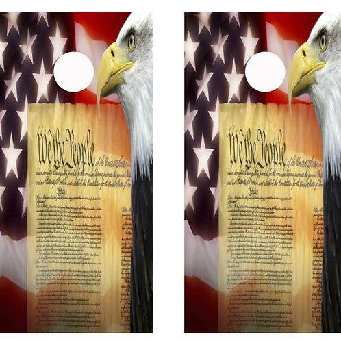 Eagle Flag We The People Cornhole Wood Board Skin Wrap