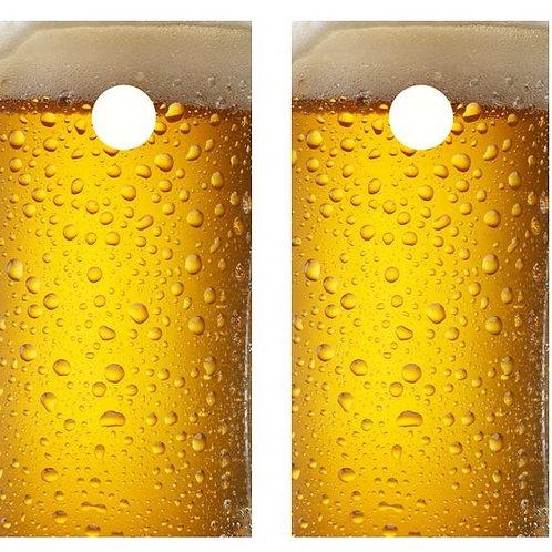 Cold Beer Mug Cornhole Wood Board Skin Wrap