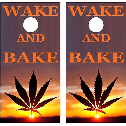 Wake And Bake Cornhole Wood Board Skin Wrap