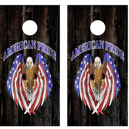 American Pride Eagle Barnwood Cornhole Wood Board Skin Wrap