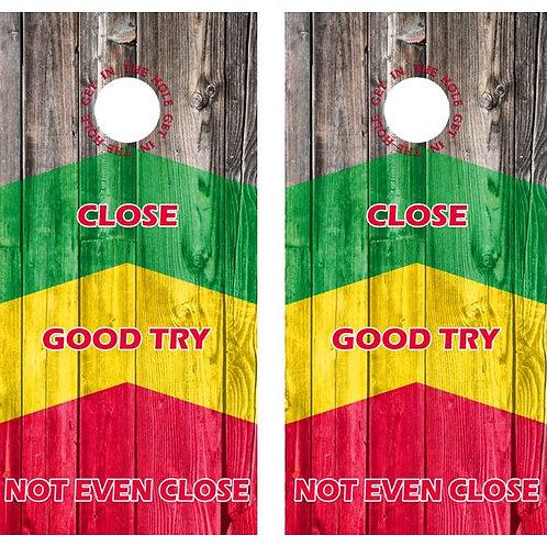 In The Hole, Close, Good Try Barnwood Cornhole Wood Board Skin Wrap