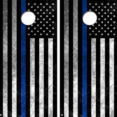 Grunge Blue Lives Flag Cornhole Wood Board Skin Wrap