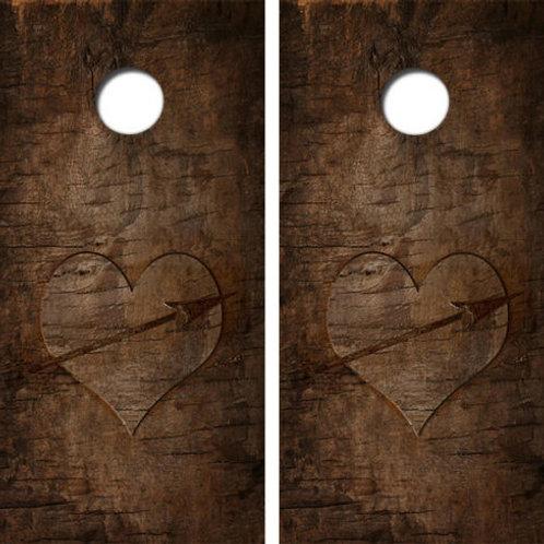 Love Heart Cornhole Wood Board Skin Wrap